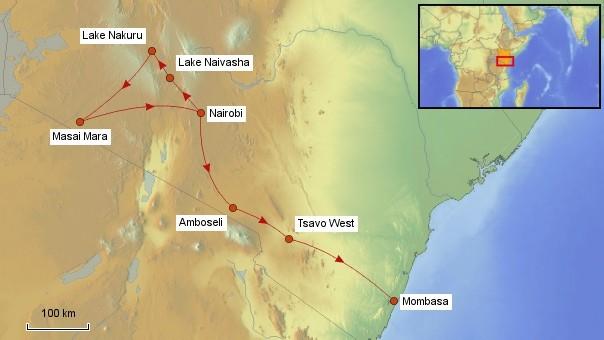 Karte Kenia Rundreise
