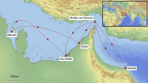 Karte Kreuzfahrt im Arabischen Raum