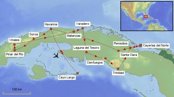 Karte Kuba Rundreise