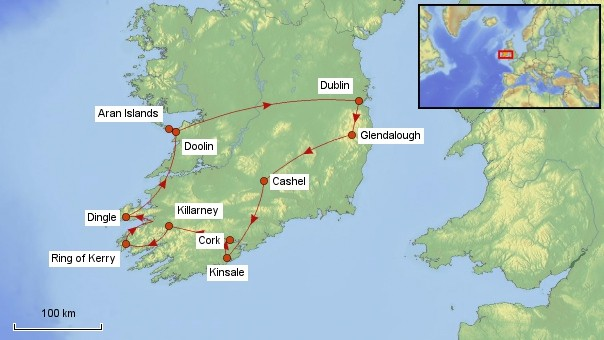 Karte Irland Rundreise