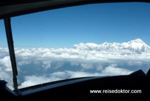 Annapurna Massiv aus dem Cockpit