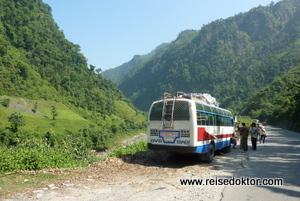 Busfahrt nach Pokhara