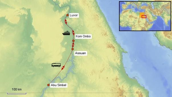 Karte Nilkreuzfahrt