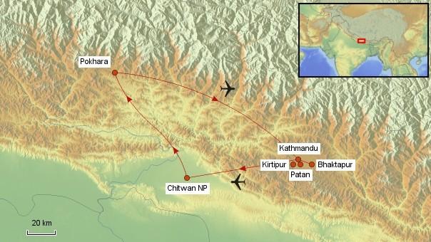 Karte Nepal Rundreise