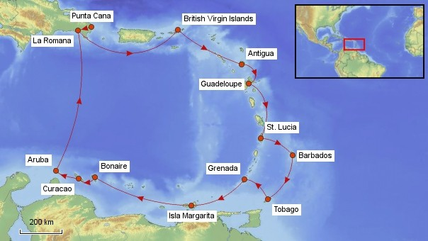 Karte Karibik Kreuzfahrt