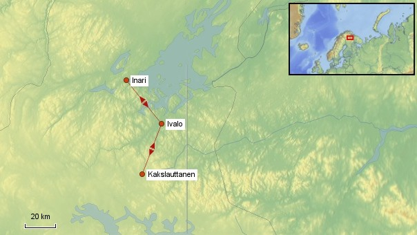 Karte Finnland Kakslauttanen