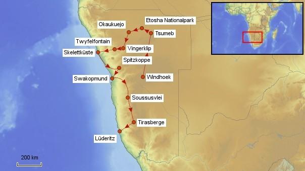 Karte Namibia Rundreise