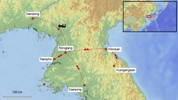 Karte Nordkorea Rundreise