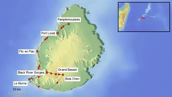 Karte Mauritius Rundreise