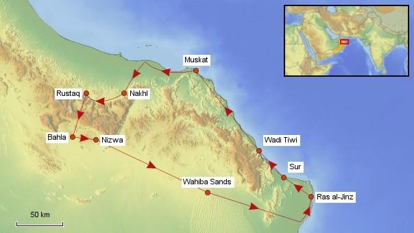 Karte Oman Rundreise
