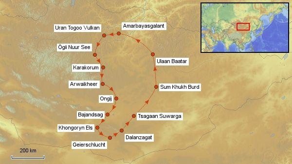 Karte Mongolei Rundreise 2013