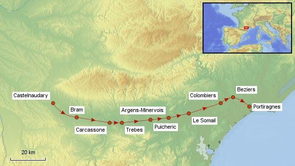 Reisekarte Canal du Midi