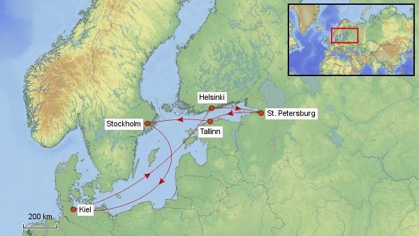 Reisekarte Ostsee