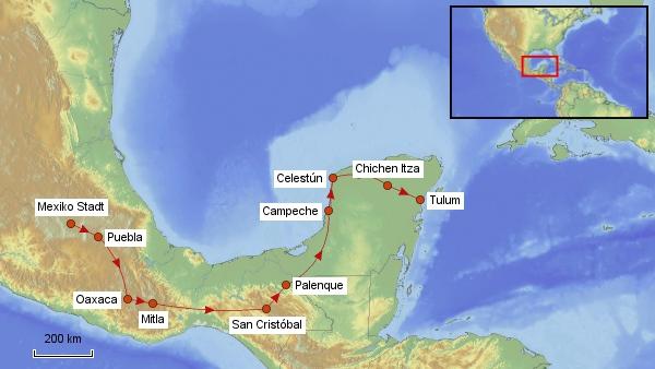Reisekarte Mexiko