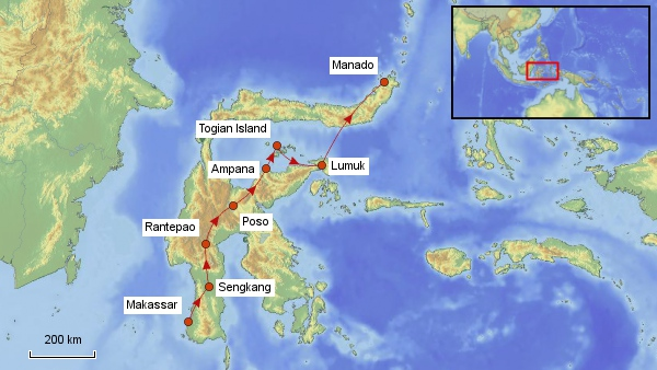 Reisekarte Sulawesi