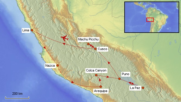 Reisekarte Peru 2016