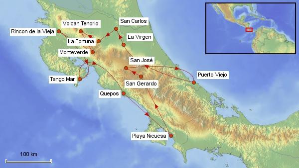 Reisekarte Costa Rica