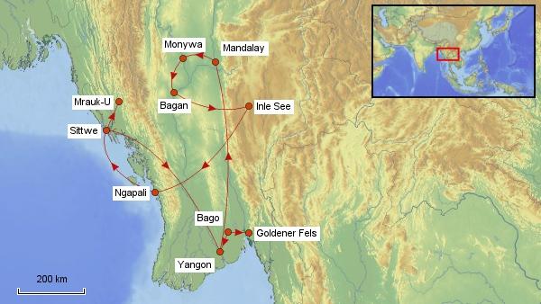 Reisekarte Myanmar 2017