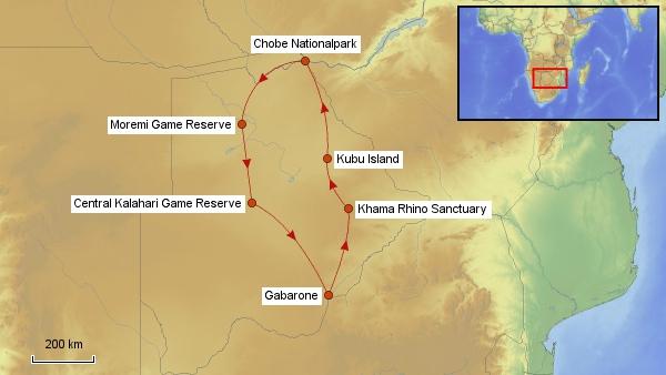 Karte Botswana Rundreise