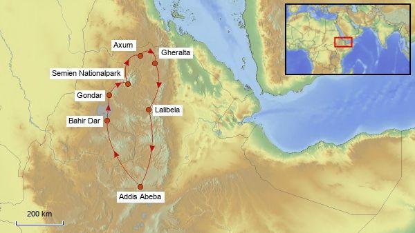 Reisekarte Rundreise Äthiopien