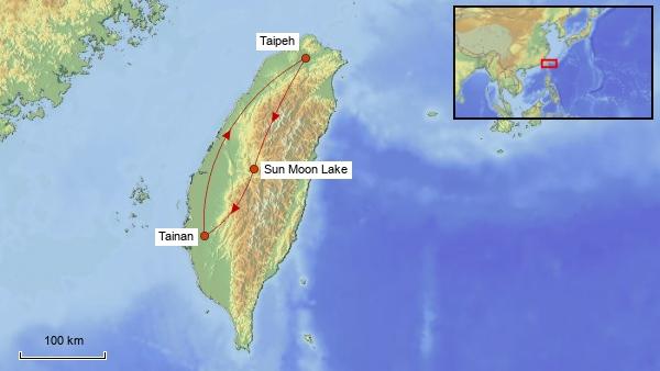 Reisekarte Taiwan 2018