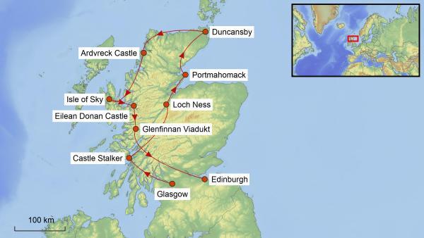 Reisekarte Schottland